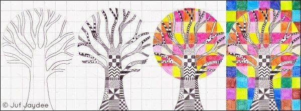 Juf Jaydee: De boom - vakjes, patronen en kleurcontrast