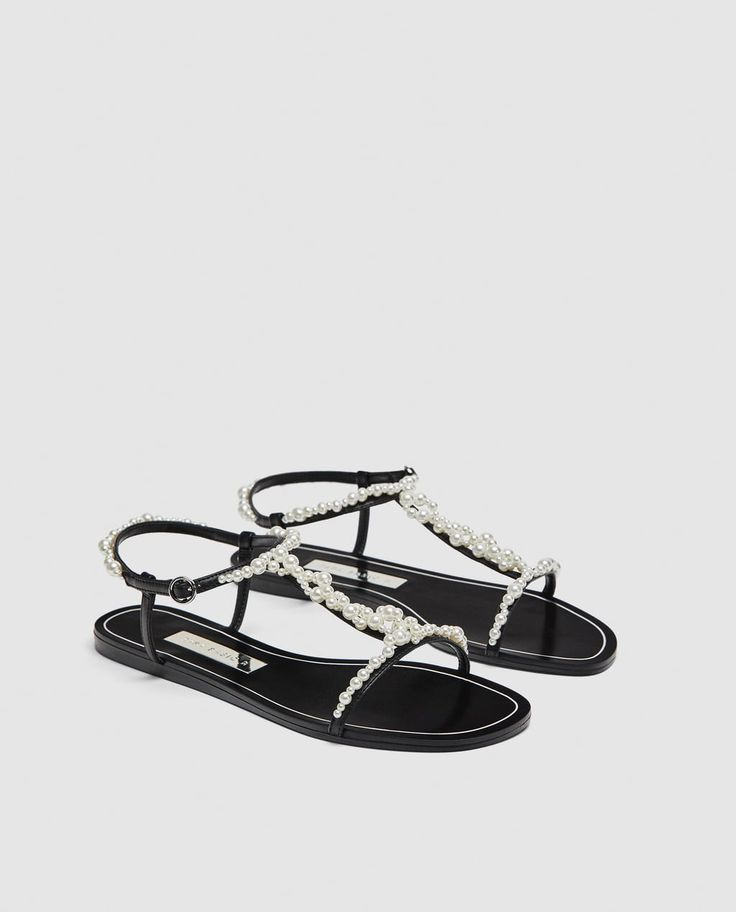 ZARA T-Strap Slides with Faux Pearls