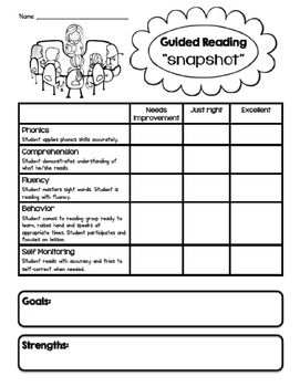 "Use these forms to get a quick ""snapshot"" assessment of your students during guided reading. Great communication tool for parents as well!"