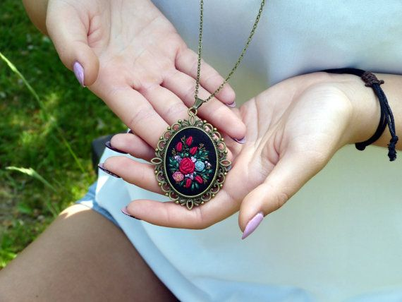 Rosesr necklace Hand embroidered pendant by EmbroideredJewerly