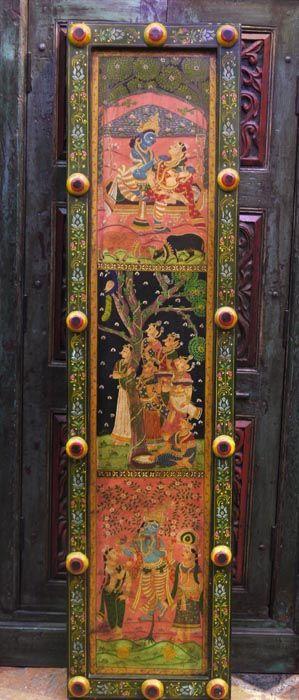 Панно «Кришна-лила», индийския ручная роспись на дереве / Панно икартины / ПРЕДМЕТЫ ИНТЕРЬЕРА / мебель из массива, Индийская мебель, Восточная мебель