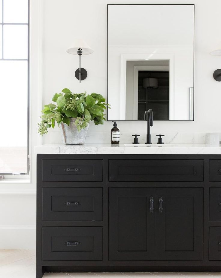 Knowles Mirror Lookingforbathroomdesigns Black Vanity Bathroom Black Cabinets Bathroom Black Bathroom
