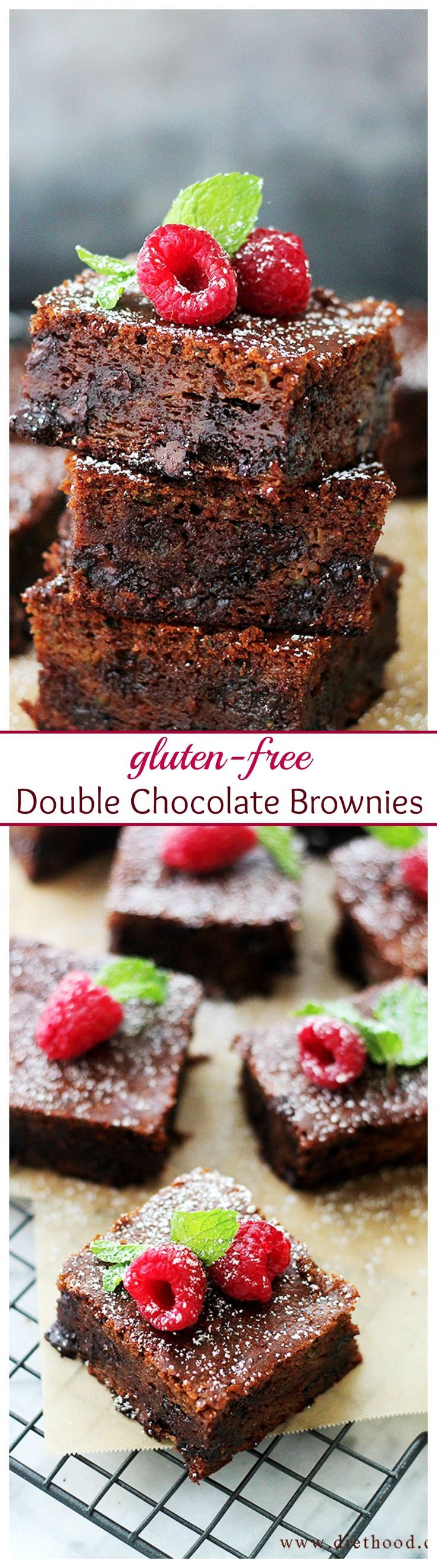 Decadent and fudgy Double Chocolate Brownies made with creamy Cashew Butter, Zucchini, cocoa, and chocolate chips.
