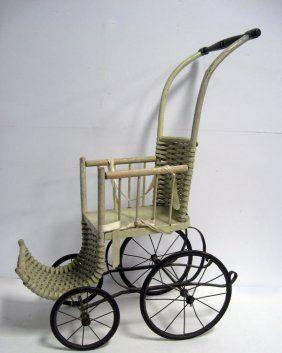 Doll Stroller With Wire Spoke Wheels, Splint Back And F