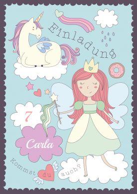 Süße Einladungskarte Zum 7. Geburtstag In Pastellfarben Mit Einhorn Und  Prinzessin. Nur Namen Einsetzen