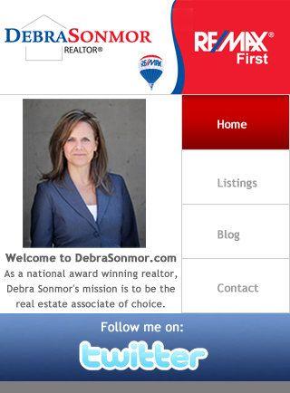 Custom Real Estate mobile website for realtor Debra Sonmor