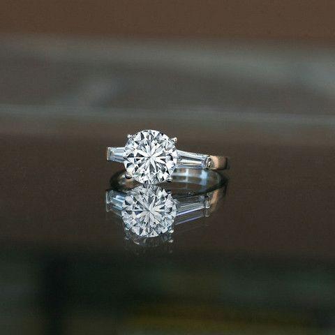3 ct round center side baguettes classic style ring 635r6003 diamond wedding - Wedding Diamond Rings