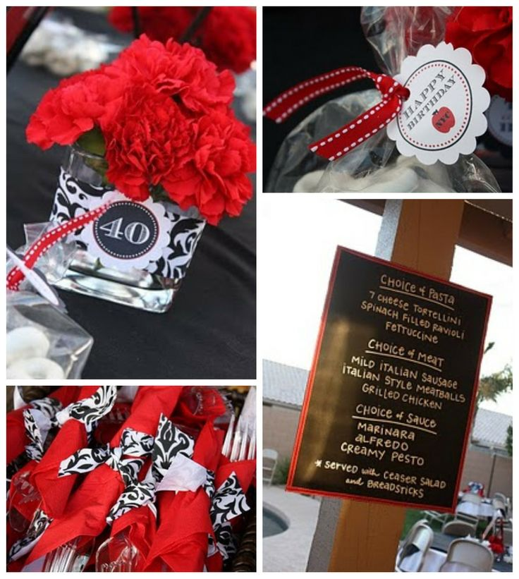 Black, Red & White -40th birthday party decorations