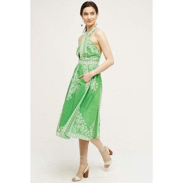 Plenty by Tracy Reese Ferula Petite Dress (€225) ❤ liked on Polyvore featuring dresses, green, petite dresses, cross front dress, zipper back dress, plenty by tracy reese dress and green dress
