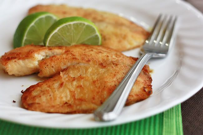 Honey Lime Tilapia - with a simple squeeze of lime juice, delicious. Or, you could certainly serve it with some peach salsa. I loved it!