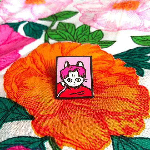Pink cool cat enamel pin
