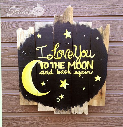 """This sign is full of character with it's rustic edges, and the message is even sweeter. """"I Love You To the Moon & Back Again"""" is a commonly used phrase from a parent to child and  this piece would make a perfect gift for a nursery or playroom.   We recommend this piece is not hung above cribs o..."""
