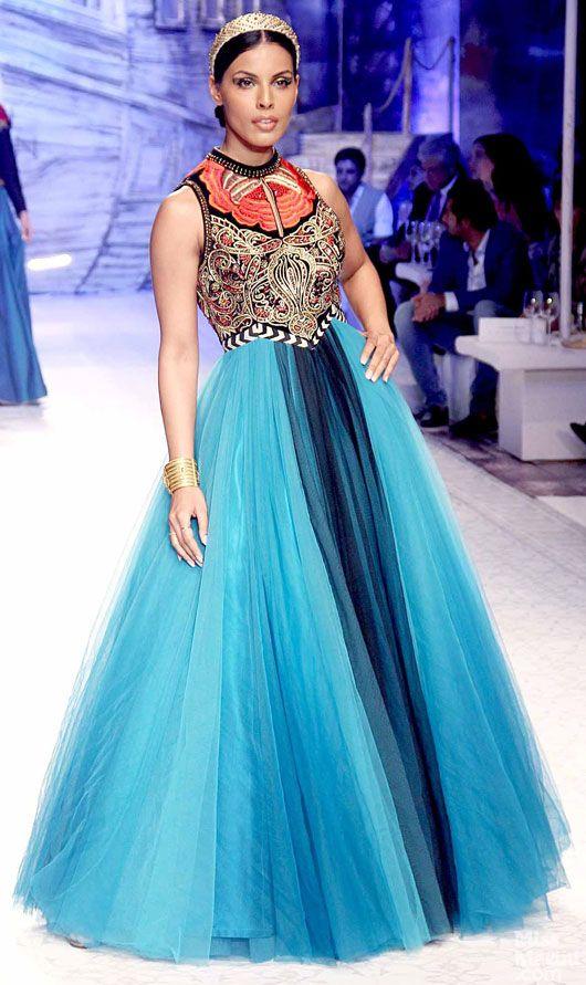 Sea-blue tulle anarkali by JJ Valaya at Indian Bridal Fashion Week 2013