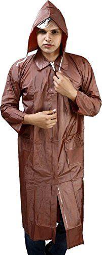 JBB Brown Solid Hooded Raincoat For Men #Raincoat