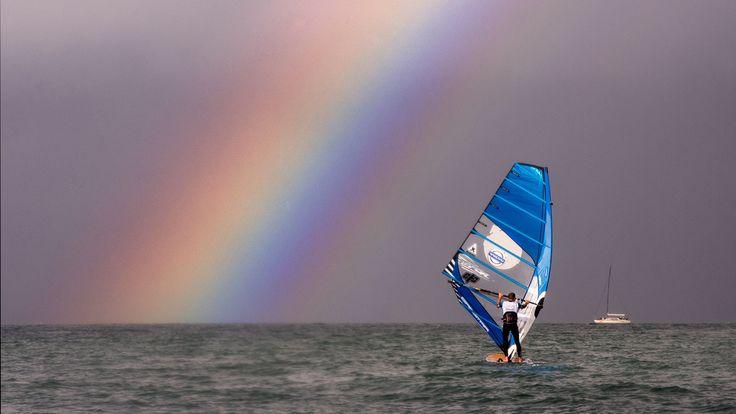 Volvo speed challenge - Nick Dempsey, windsurfing - rainbow, Cowes, Isle of Wight