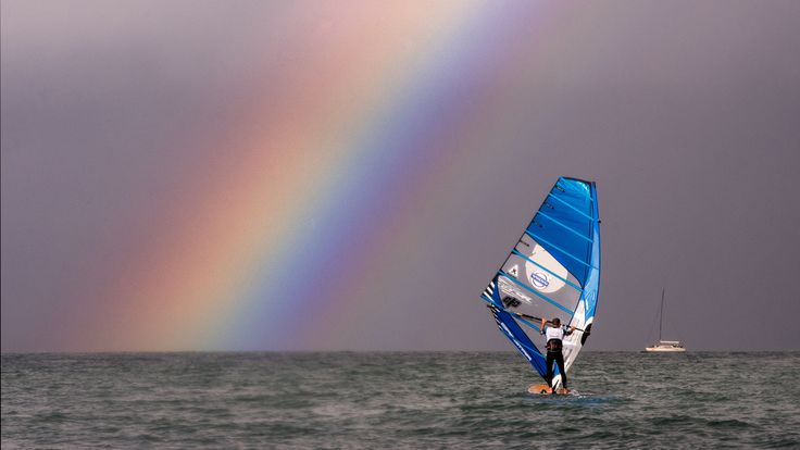 Volvo speed challenge - Nick Dempsey, windsurfing - rainbow, Cowes, Isle of Wight