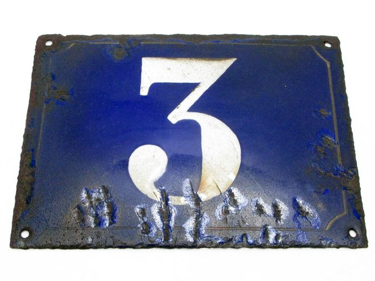 House Number Plate No. 3, Original Enamel French Blue and White, French Signs, French House Number Plate, Blue and White Signs - pinned by pin4etsy.com