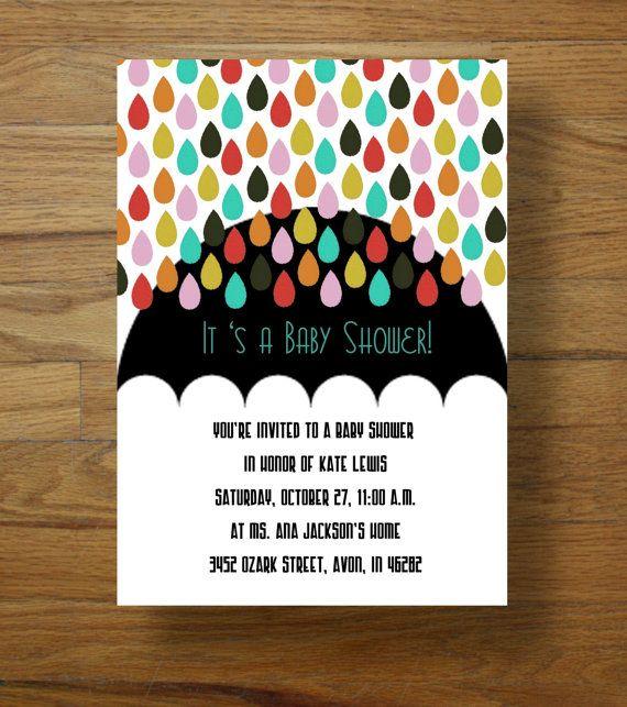 """""""rain"""" baby shower invitations"""