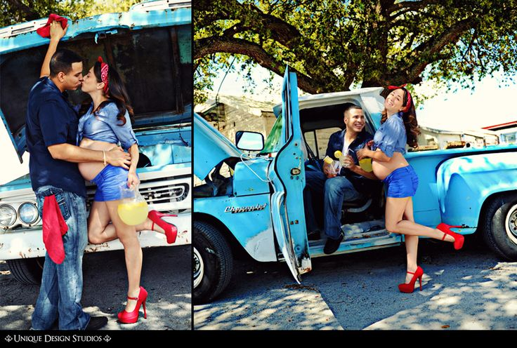 so cute, vintage maternity photo shoot... however, i do not see me wearing daisy dukes and a cut-off shirt :)