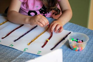 beads on pipe cleaners to match numbers