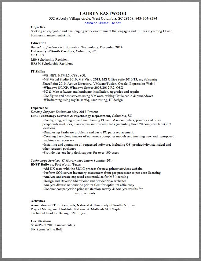 desktop support technician resume sample lauren eastwood