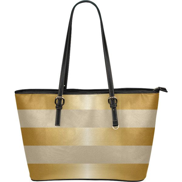 Gold Metallic Stripes Beige Background Leather Tote Bag/Small (Model... ($40) ❤ liked on Polyvore featuring bags, handbags, tote bags, stripe, totes, white tote, white leather tote, beige leather tote, metallic tote bag and white leather handbags