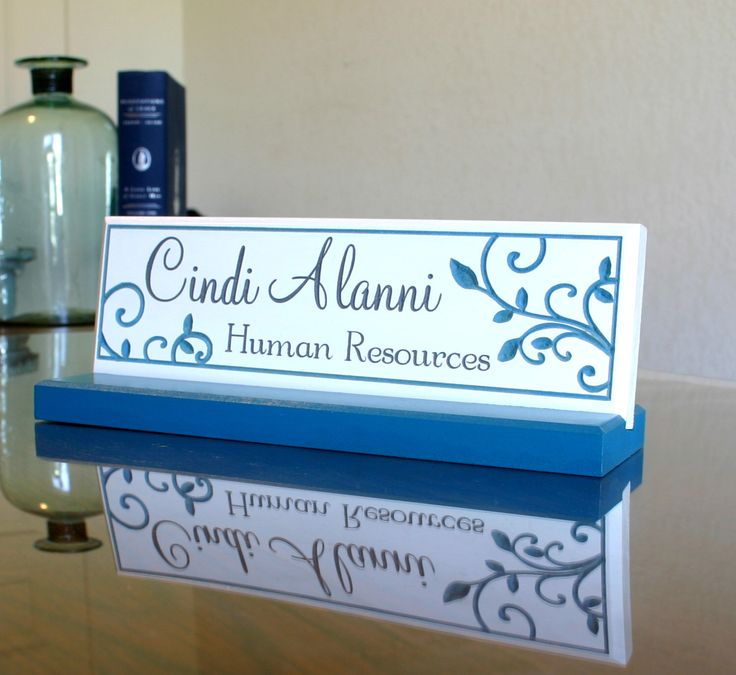 Desk Name Plate and Accessory Personalized Wood Desk Plaque Unique Hand Painted Office Desk Sign by CustomSignworks on Etsy https://www.etsy.com/listing/232826265/desk-name-plate-and-accessory