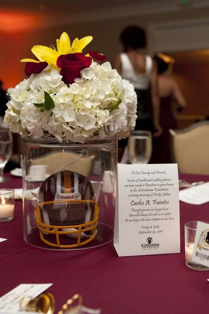 You can subtly incorporate your team's colors into your flowers #football #wedding