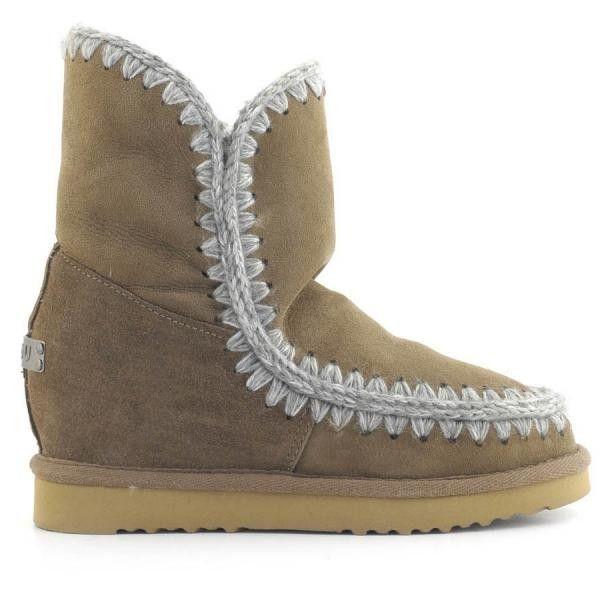MOU Eskimo Wedge Short Boots Women Dark Stone - MOU
