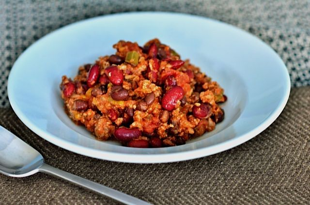 Great for Halloween! Smoked Turkey Mango Chili {ReluctantEntertainer.com}