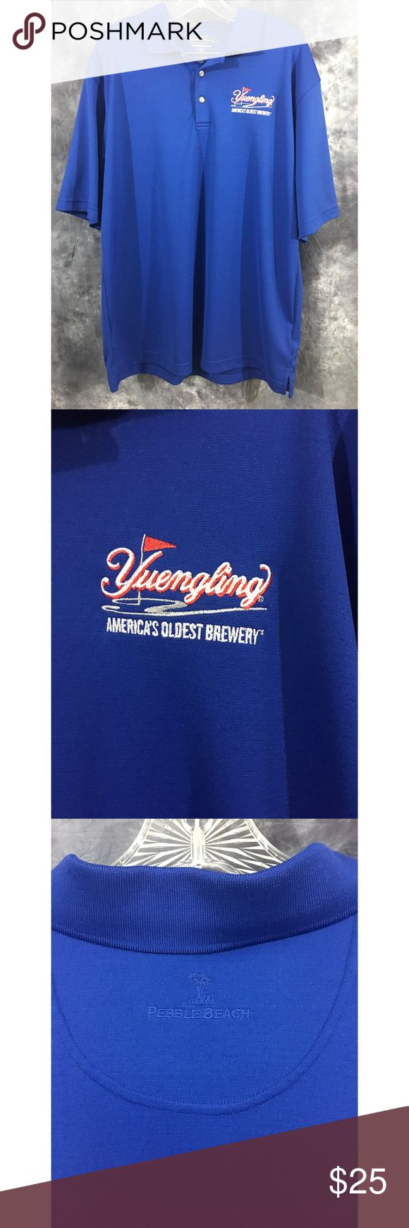 """Yuengling Pebble Beach Polo Shirt XL Yuengling """"World's Oldest Brewery"""" polo shirt in size XL. In excellent preowned condition with no flaws. Royal blue body, Embroidered Yuengling logo, Pebble Beach logo on back neck. Pebble Beach Shirts Polos"""