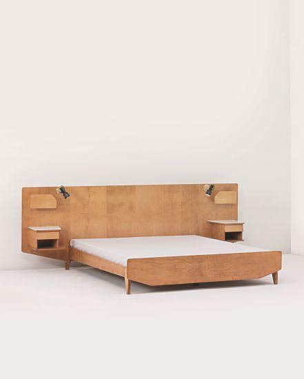 Gio Ponti; Walnut-Veneered Wood and Glass Bed, 1950s.