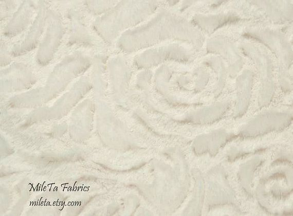 Minky Fabric Roses, ultra soft cuddly velboa microfiber fabric, Color Ecru.