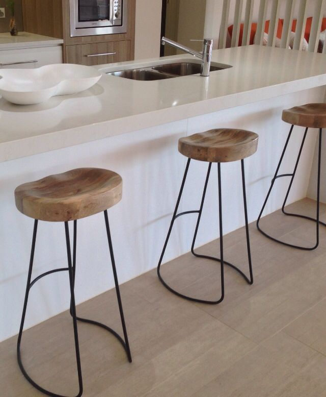 Wooden Tractor Stools w/ Black Bars. & 7 best For the kitchen images on Pinterest | Kitchen ideas Bar ... islam-shia.org