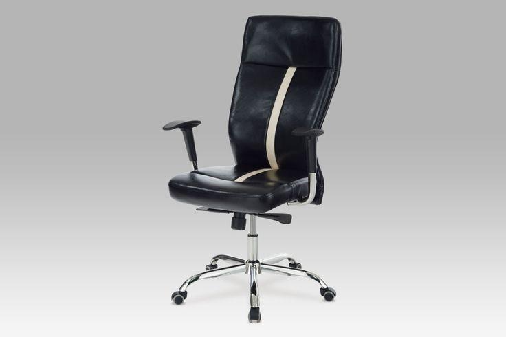 KA-H029 BK Kancelářská židle, koženka černá, synchronní mechanisus, chromový kříž. Stylová kancelářská židle v černé kožence s efektním kontrastním pruhem na sedáku a opěráku, chromovaný kříž. Židle má synchronní mechanismus a je výškově nastavitelná s výškově nastavitelnými područkami.