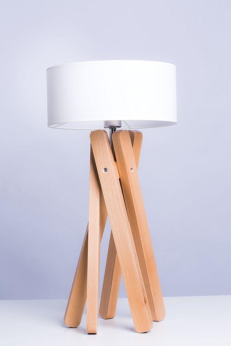 Luxus Designer Stehleuchte Tischleuchte Tripod Holz Echtholz Mit Stoffschirm In Weiss