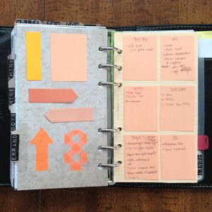 Errands Tab - separate small Post-it for each store. Maybe something like this with to-do's or goals