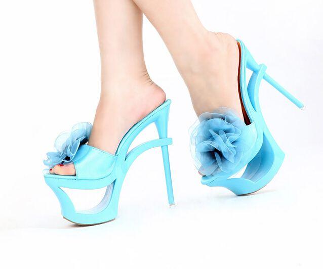Kvoll d'été sexy plate forme de découpe bout ouvert mousseline de soie fleur ultra talons minces talons hauts pantoufles chaussures femmes de pantoufles dans Femmes de Sandales de Chaussures sur AliExpress.com   Alibaba Group
