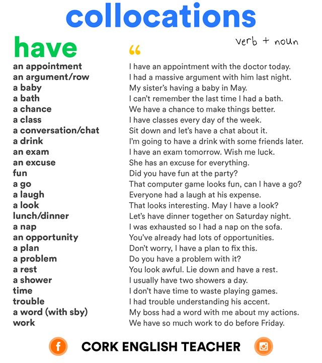 Collocations with HAVE