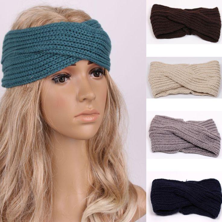 1 PC Mulheres Lady Crochet Arco Nó Turbante De Malha Cabeça Envoltório Inverno Ear Warmer Headband Faixa de Cabelo Hairband Acessórios w343(China (Mainland))