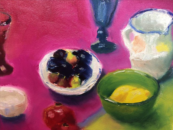 Pink tablecloth, oil on paper