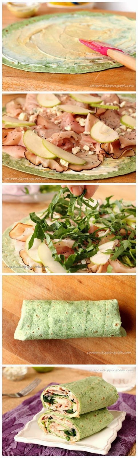 Ham, Apple and Blue Cheese Wraps - go green with these delish wraps. A colorful wrap for St. Patrick's Day.  Ingredients: 2 large Garden Spinach Herb Wraps (or your favorite wrap or flour tortilla) ¼