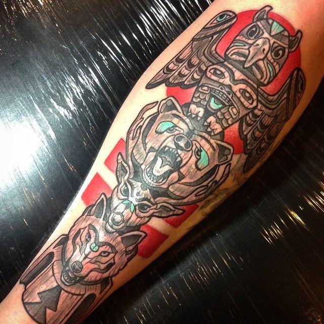 Animal Totem Pole Tattoo by Laura Marshall