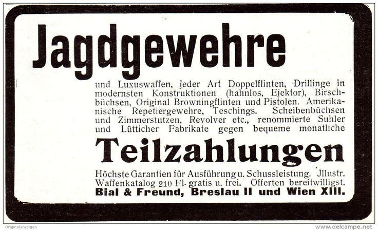 Original-Werbung/ Anzeige 1907 - JAGDGEWEHRE / BIAL & FREUND - BRESLAU - Ca. 80 X 50 Mm - Werbung