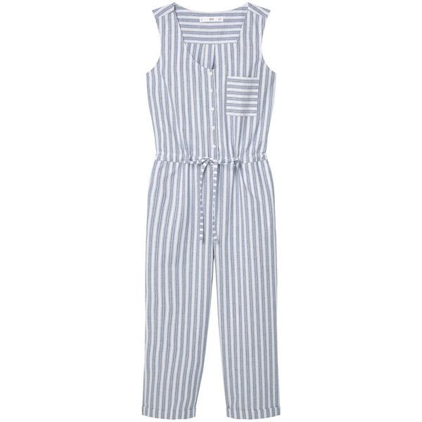 Striped Cotton Jumpsuit (£40) ❤ liked on Polyvore featuring jumpsuits, cotton jumpsuit, striped jumpsuit, mango jumpsuit and jump suit