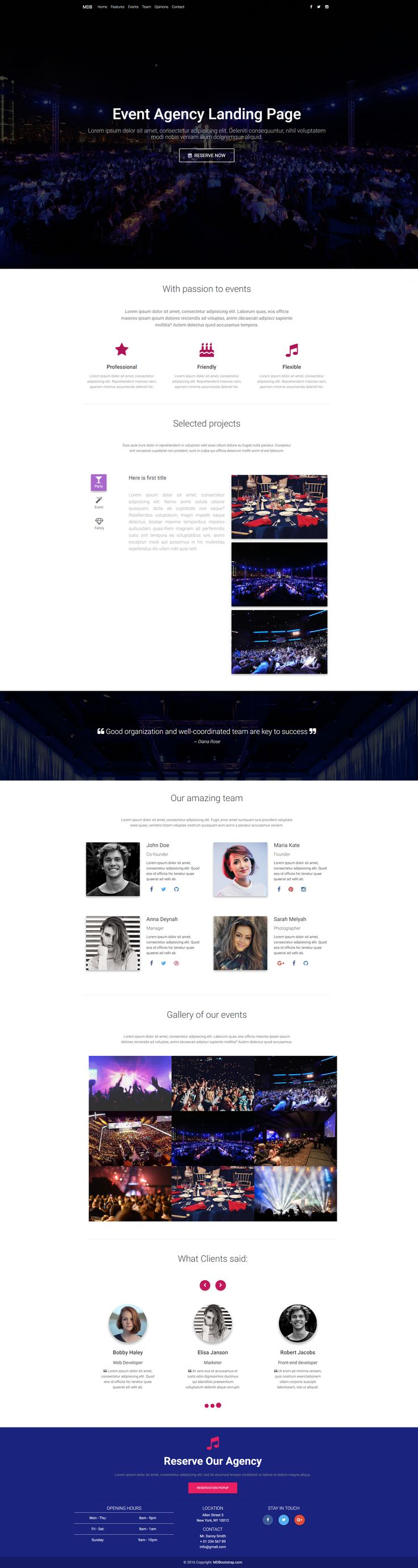Material Design event agency landing template based on Bootstrap 4