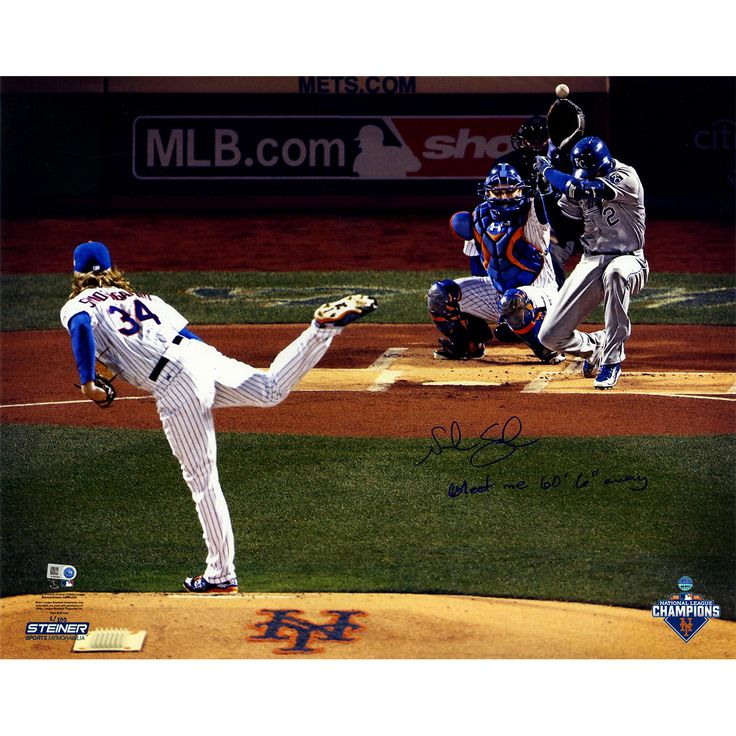 Noah Syndergaard Signed 2015 World Series Game 3 1st Pitch 16x20 Glossy Photo w/ 'Meet Me 60' 6' Away' Insc. (Signed in Blue) (LE of 100)