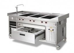 Catering Induction Range Cooker With Adande Refrigerated Drawer