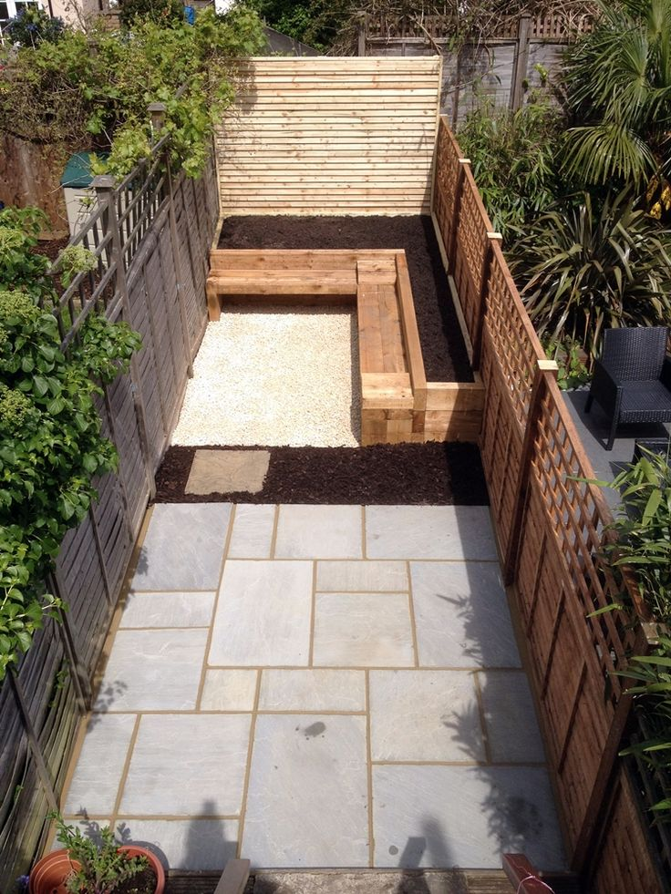 small garden design balham london indian sandstone paving patio with raised beds made from railway sleepers and solid timber bench contact anewgarden for - Small Yard Design Ideas