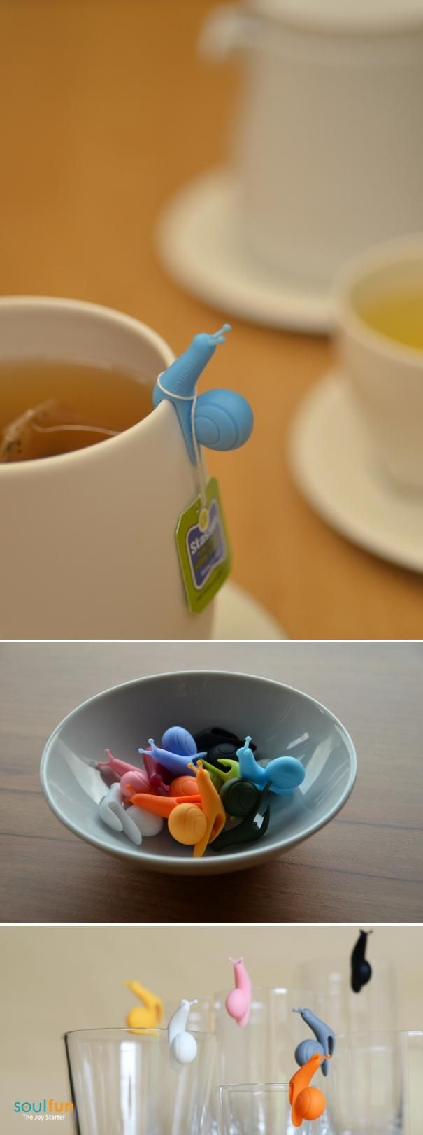jolis escargots pour tenir les sachets de thé - Snail tea bag holders // adorably awesome :) #product_design